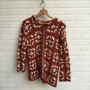 Vintage Afghan Knit Cardigan Sweater